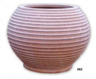 cachepot rigato - Terracotta-Topf mit Rillen