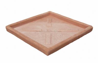 Quadratischer Terracotta Unterteller