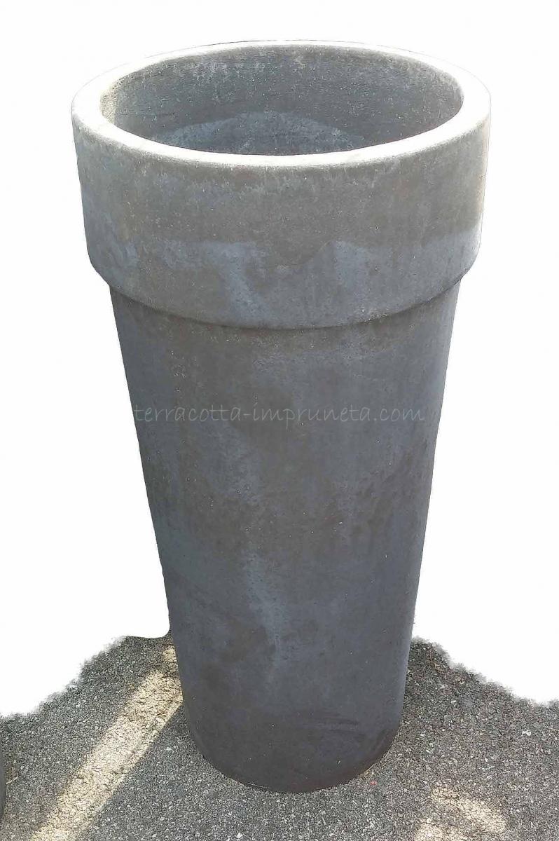 term hlen terracotta impruneta runde graue terracotta vase mit rand. Black Bedroom Furniture Sets. Home Design Ideas
